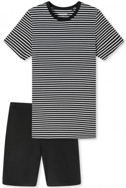 """Schlafanzug kurz """"Stripes"""" - Organic Cotton, in schwarz"""