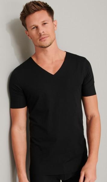 Herren Shirt Halbarm Laser-Cut schwarz