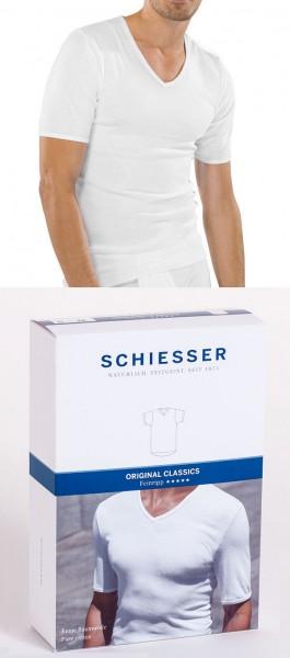 Herren Unterhemd Feinripp Halbarm 1/2 V-Ausschnitt Schiesser 005123