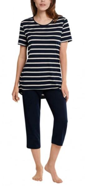 Schiesser Damen Schlafanzug 3/4 lang 1/2 Arm Pyjamaset, Nachtblau 174860-804