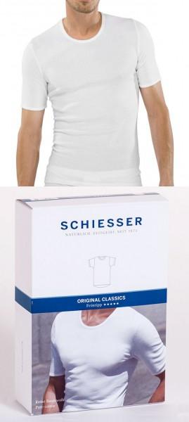 Herren Unterhemd Feinripp Halbarm 1/2 Rundhals Schiesser 005122