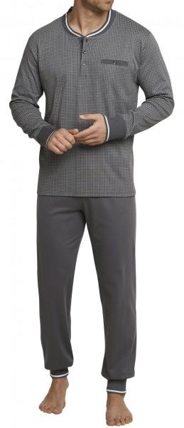 Schiesser Herren Zweiteiliger Schlafanzug Anzug Lang mit Knopfleiste