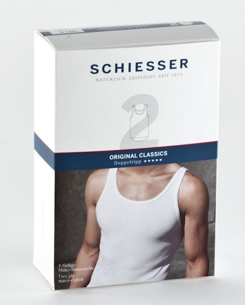 Herren Unterhemd Shirt ohne Arm 0/0 Doppelripp 2 Stück Schiesser 005051