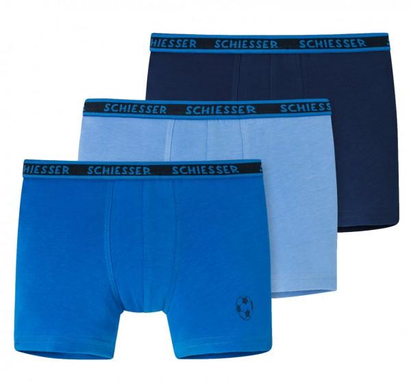 Jungen Shorts 3er-Pack Organic Cotton Fußball blau bis Grösse 140