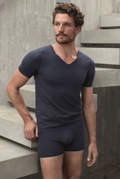 Herren Shirt Halbarm Laser-Cut blau