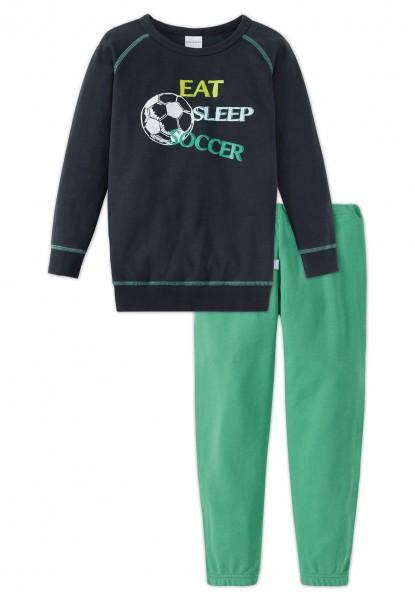 Schiesser Jungen Zweiteiliger Schlafanzug Fußball Knaben Schlafanzug Lang