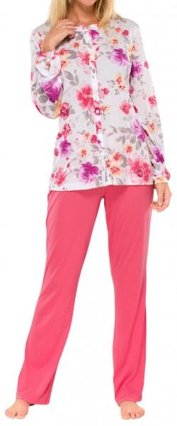 """Damen Pyjama lang 50+ Modal """"Rosen"""" Schiesser 142019"""