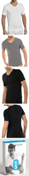 Männer Unterhemd Shirt 1/2 Arm V-Ausschnitt, 95/5 Cotton-Stretch Schiesser 205429