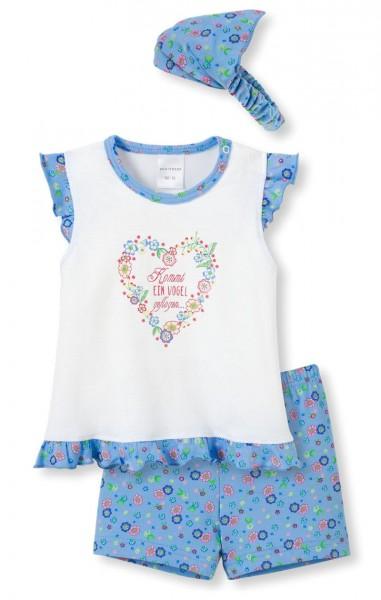 """Mädchen Baby Anzug 3-teilig """"Kommt ein Vogel.."""" Schiesser 142361"""