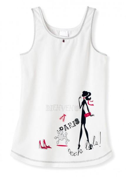 """Mädchen Unterhemd Hemd ohne Arm 0/0 """"Bienvenue a Paris"""" Schiesser 135854"""