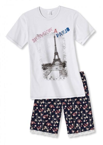 Mädchen Schlafanzug kurz Bienvenue a Paris Schiesser 136879