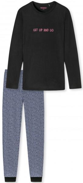 """Schlafanzug lang """"Get up an go"""" - Organic Cotton, in der Farbe schwarz"""