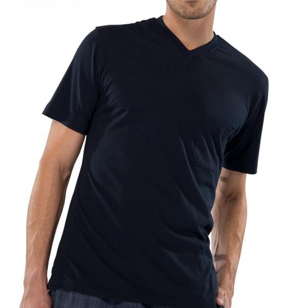 Herren Shirt Halbarm V-Ausschnitt Schiesser 130027