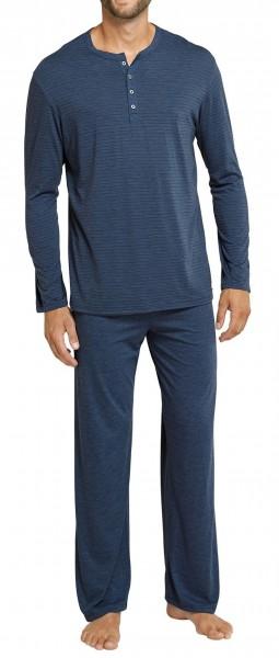 Schiesser Herren Zweiteiliger Schlafanzug Funktionswäsche Anzug Lang mit Knopfleiste