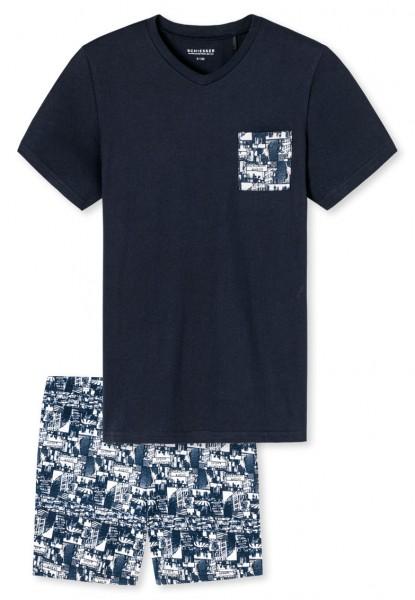 Schiesser Jungen Zweiteiliger Schlafanzug Anzug kurz 169794-804