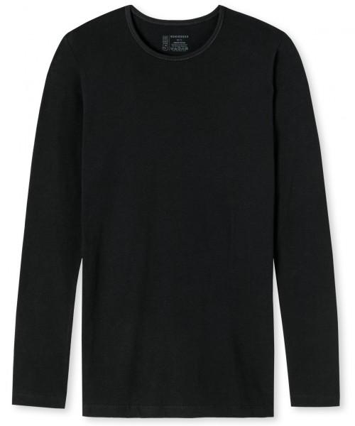 "Shirt Langarm ""Organic Cotton"" Rundhals Schwarz"