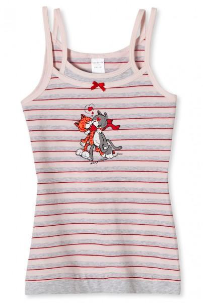 """Mädchen Unterhemd Top ohne Arm 0/0 """"Love Cats"""" Schiesser 135703"""