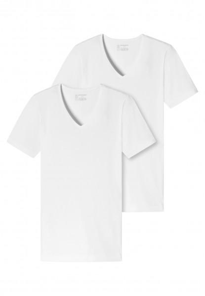 Shirts kurzarm 2er-Pack Organic Cotton tiefer V-Ausschnitt