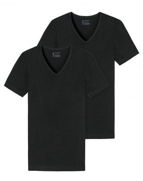 Shirts kurzarm 2er-Pack Organic Cotton tiefer V-Ausschnitt schwarz
