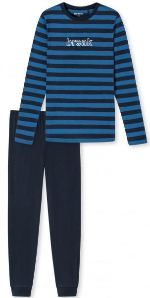 """Schlafanzug lang """"Break"""" - Organic Cotton, in der Farbe blau"""